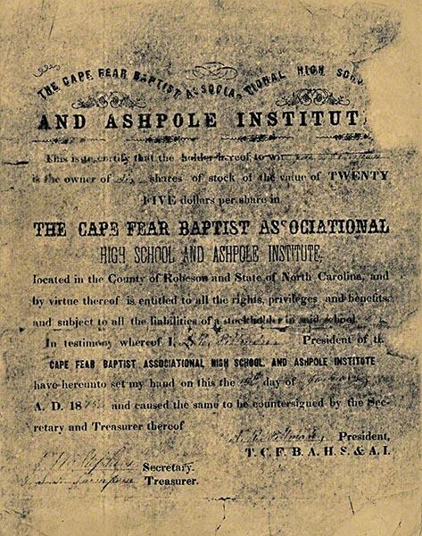 Fairmont NC History - Ashpole Institute